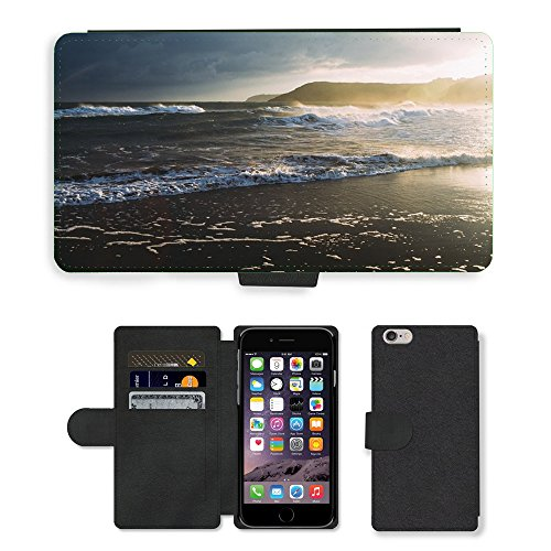 PU Leather Cover Custodia per // M00421608 Waves Shore Ocean Beach Breakwater // Apple iPhone 6 PLUS 5.5""