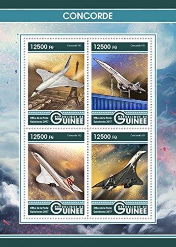 Concorde Jet (Guinea - 2017 Concorde Passenger Jet- 4 Stamp Sheet - GU17204a)
