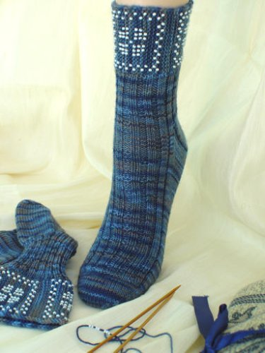Beaded Fleuron Socks and Wrist Warmers (Heartstrings Fiberarts #S11) - Hearts Beaded Socks