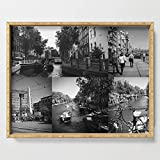 Society6 Serving Tray with handles, 18'' x 14'' x 1 3/4'', Photo collage Amsterdam 1 in black and white by kultjers