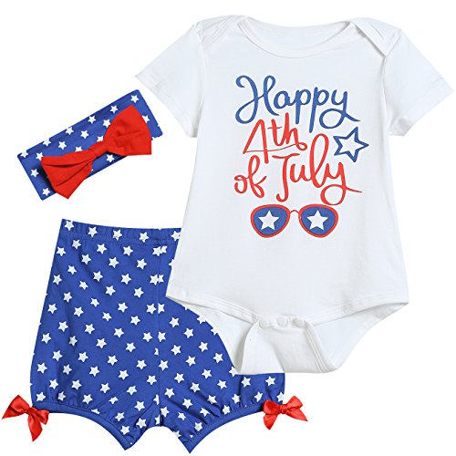 Baby Girls' Cute Outfit Set 3PCS Bodysuit USA Flag Shorts with Headband (12-18 -