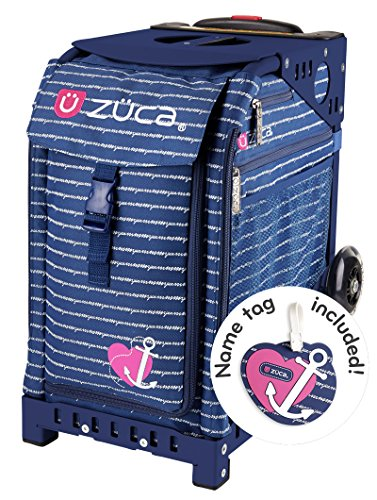 Zuca Anchor My Heart Sport Insert Bag and Navy Blue Frame with Flashing Wheels by ZUCA