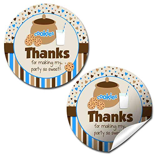 Milk and Cookies Cookie Jar Thank You Sticker Labels for Boys, 40 2