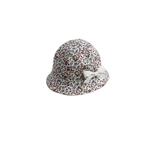 51b87a31445128 wintefei Summer Floral Print Cotton Kid Girl Baby Double Sided Cap Bowknot Sun  Bucket Hat - White: Amazon.in: Baby