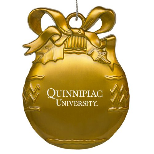 Quinnipiac University - Pewter Christmas Tree Ornament - Gold