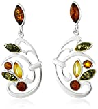 Sterling Silver Multi-color Amber Floral Earrings