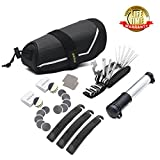 MakerFun Bike Fix Tool Kit - 16 in 1 Multifunction Cycling Mechanic Bike Fix Tools, Mini Bike Travel Repair Tool Kits Set, Bike Tyre Fix, Metal Rasp, Glue-less Patches,Storage Bag for Cyclist Bicycle