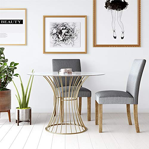CosmoLiving Westwood Modern Clear Tempered Glass Round Top Dining Table with Hourglass Gold Base - - Dining Gold Set Table