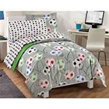 Dream Factory Soccer Ultra Soft Microfiber Comforter Set, Multi-Colored, Twin