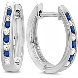 18K White Gold Round Ladies Hoop Earrings