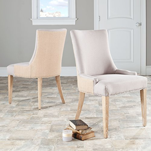Safavieh Mercer Collection Eva Jute Backed Linen Dining Chair with Trim Nail Head, Beige