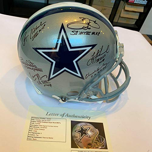 Dallas Cowboys SB MVPs Signed Helmet Emmitt Smith Troy Aikman Roger Staubach - JSA Certified - Autographed NFL Helmets