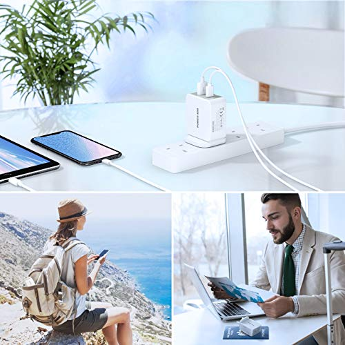 Poweradd USB Plug Charger-30W Dual Port USB C Fast Charger with 18W Power Delivery and 12W USB Compatible with iPhone 11/11 Pro Max/XS/Max/XR/X/8 Plus, iPad, Samsung, Huawei P20/P30/P40 and More-White