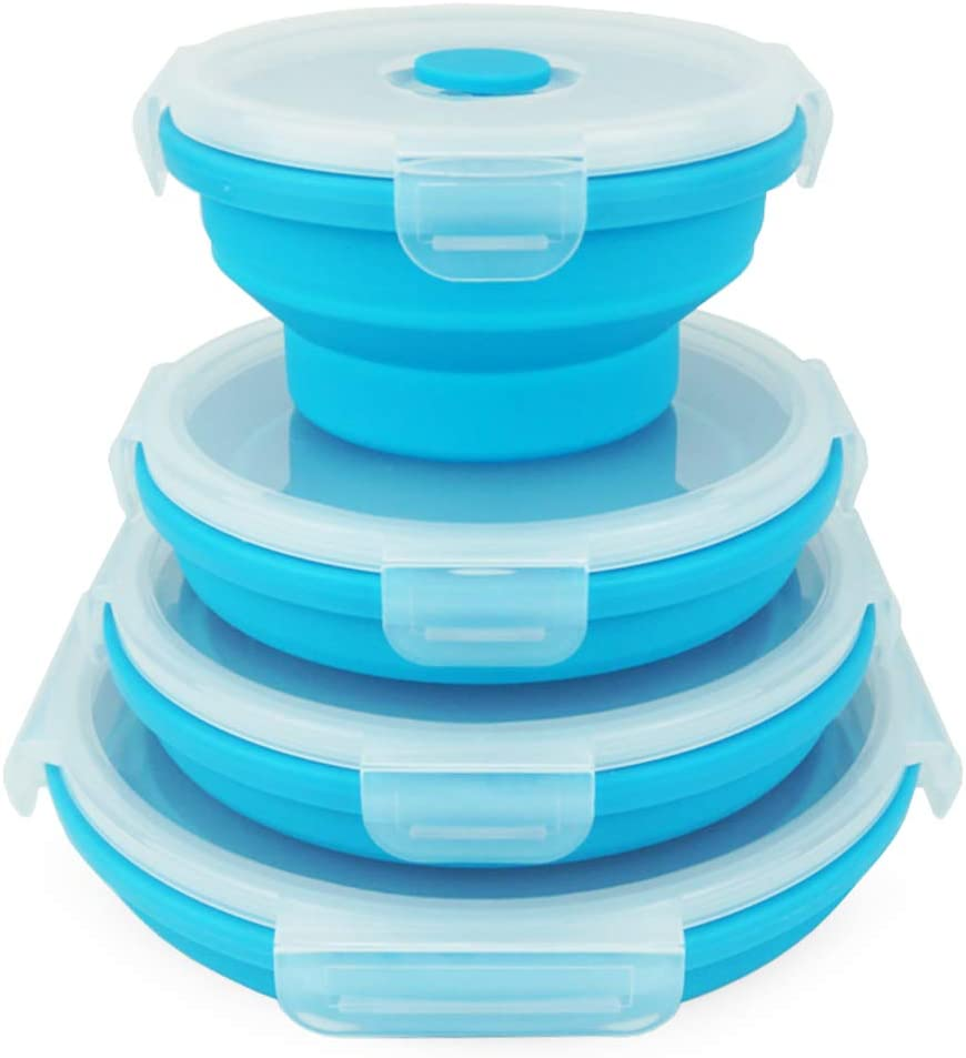 ECOmorning 4piece Silicone Collapsible Bowls Set Collapsible Food Storage Containers With Leakproof Lids for Travel, Camping - Microwave, Freezer Safe