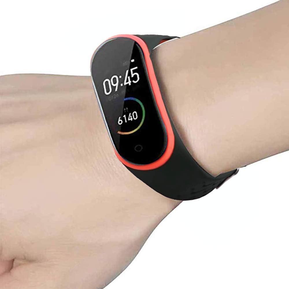 Band 3,Silicone de Remplacement en Plastique Bracelet Fr/êne Noir QHOHQ Bracelet pour Xiaomi Mi Band 4