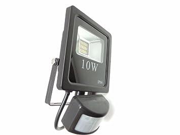 Silamp Proyector LED Faro detector de movimiento crepuscular 10 W IP66 – Color luz: blanco