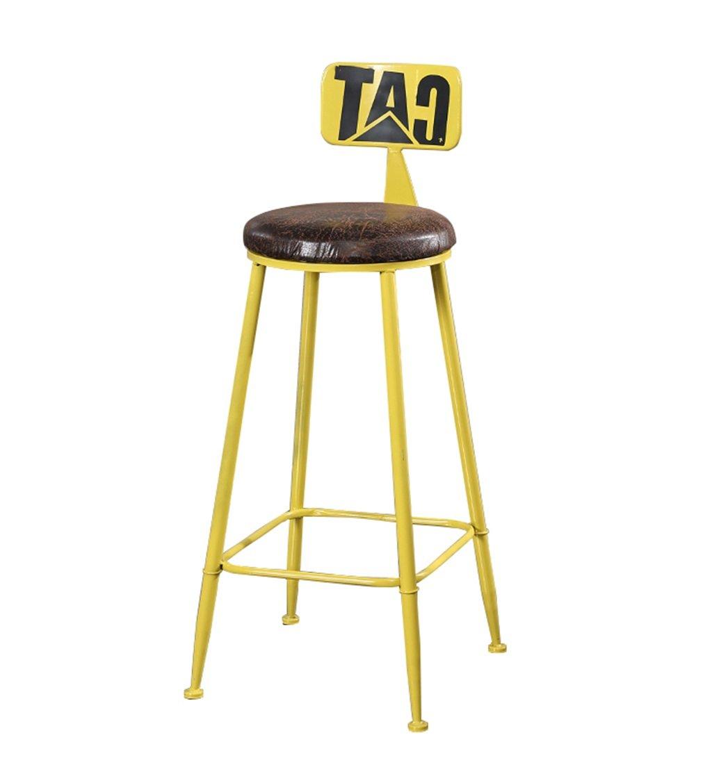 カウンターチェア 高いスツールバーキッチンダイニングチェア朝食用スツール|背の高い椅子バースツールカウンターチェアレジャーシートビンテージレトロ多色バースタイルのデザイン(木製シート) (色 : イエロー いえろ゜, サイズ さいず : 65cm) B07FJMGXPLイエロー いえろ゜ 65cm