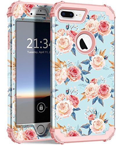 iPhone 7 Plus Case, iPhone 8 Plus Case Flower ZHK Three Layer Heavy Duty Shockproof Cute Girls Woman Anti-Scratch Protective Case Cover for iPhone 7 Plus /8 Plus 5.5 inch - Rose/Gold Rose Frame