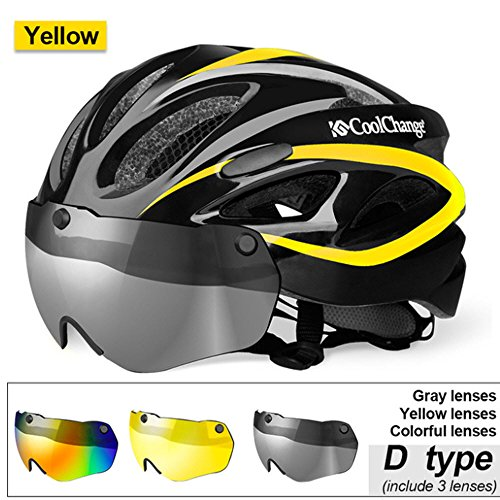 Bicycle Helmet EPS Insect Net Road MTB Bike Windproof Lenses Integrally-molded Helmet Cycling (Yellow - With Removable Lenses Sunglasses Oakley