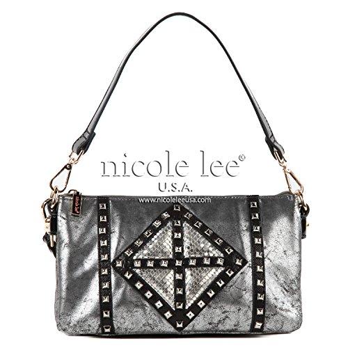 Open Metal Studded Leather Belt (Nicole Lee Joanne Metallic Geometrics P2868 Shoulder Bag,Black,One Size)