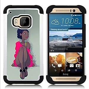 For HTC ONE M9 - PINK DRESS LATINA WOMAN GIRL DANCER Dual Layer caso de Shell HUELGA Impacto pata de cabra con im??genes gr??ficas Steam - Funny Shop -