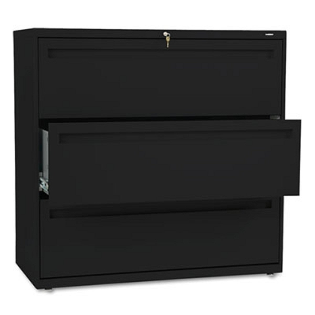 HON 700 Series Three-Drawer Lateral File, 42w x 19-1/4d, Black