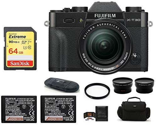 Fujifilm X-T30 Mirrorless Digital Camera with XF 18-55mm f/2.8-4 R LM OIS Zoom (Black) Bundle, Includes: 64GB Extreme Memory Card, Spare NP-W126S Battery + Telephoto & Wide Angle Lenses + More