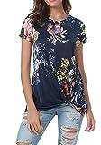 Women Summer Casual Loose Floral Knot Front Tunics Blouse T-Shirt Tops Deep Blue M