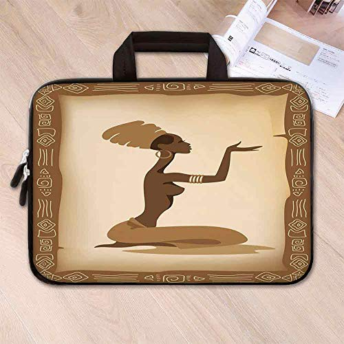 African Woman Large Capacity Neoprene Laptop Bag,Ancient Folk Art Element Frame Native Lady Hand Gesture Tribal Antique Decorative for 10 Inch to 17 Inch Laptop,15.4''L x 11''W x 0.8''H