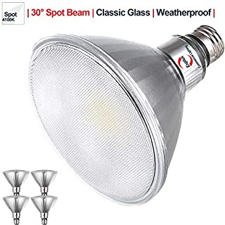 Explux Classic Full Glass PAR38 LED Spot Light Bulbs, Dimmable, Indoor/Outdoor, 90W Equivalent, 4100K Cool White, 4-Pack