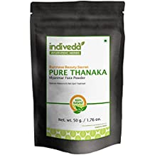 100% Pure Grade A Thanaka Face and Body Powder for Dark Spot, Acne Scars and Melasma Treatment -Sun Protection - Skin Whitening & Radiance Helps Anti-Acne + Aging, 50gm