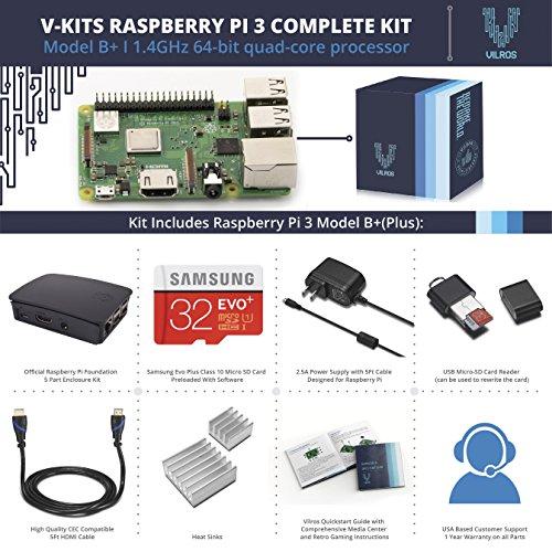 V-Kits Raspberry Pi 3 Model B+ (Plus) Complete Starter Kit with Official Black Case [LATEST MODEL 2018] by Vilros (Image #1)