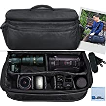 Extra Large Soft Padded Camcorder Equipment Bag / Case For Nikon D3000, D3100, D3200, D3300, D5000, D5100, D5200, D5500, D7000, D7100, D7200, D600, D610, D700, D800, D90 DSLR and More Models + Microfiber Cloth