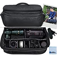 eCostConnection Padded Camcorder Equipment Bag with Shoulder Strap & Microfiber Cloth, Extra Large, Black