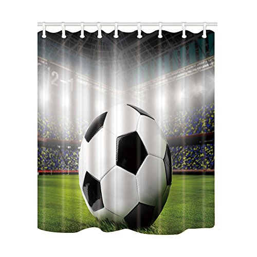 NYMB Soccer on the Football Field Bath Curtain 69X70 inches Mildew Resistant Polyester Fabric Shower Curtain Fantastic Decorations by NYMB