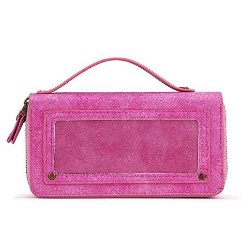 JIALUN-carcasa de telefono Funda de cuero portátil con cremallera doble con cubierta trasera magnética desmontable para iPhone 7 Plus / 8 Plus ( Color : Rose ) Rose