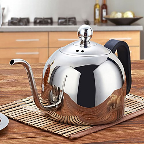 KepooMan Premium 18/8 Cup Stainless Steel Tea Coffee Kettle, Gooseneck Thin Spout for Pour Over Coffee for Home Brewing, Camping and Traveling, Fast Water heating 40 oz (1200 ml) capacity