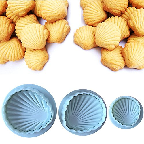 Cookie Cutter Embossing Mold Set By Garloy(3 Pack),Mini Christmas Sea Shell Themed Cute Cookies Cake Topper Sugar Craft Chocolate Plunger Cutter Mold,Spring-loaded Handle(Colors May Vary)