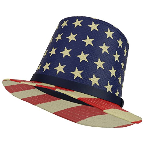 (Trendy Apparel Shop USA Flag Printed Paper Straw Uncle Sam Top Hat - Star Crown)