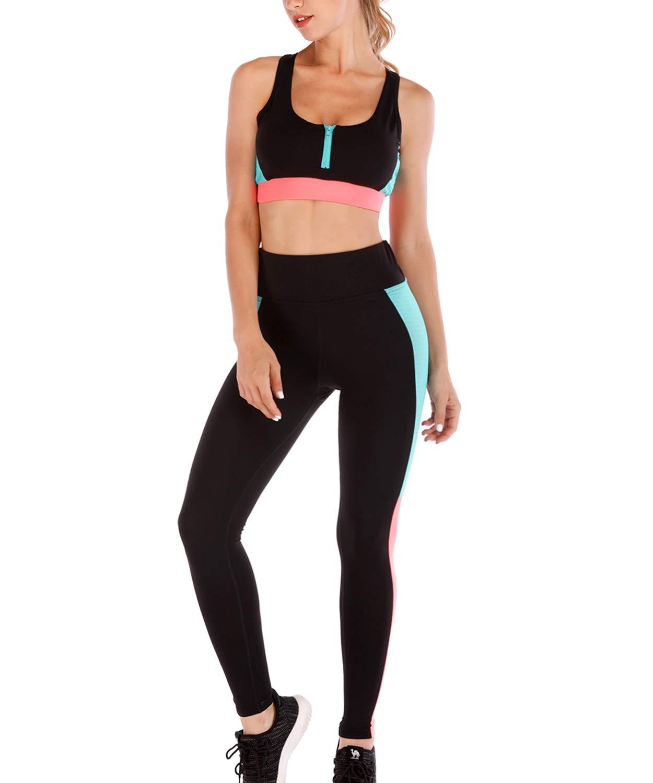 29ccf6305b529 LaLaAreal Mallas Leggins Deportivo Top Sujetador Relleno Mujer Conjuntos  para Fitness Running Yoga product image