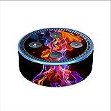 Skin Decal Vinyl Wrap for Amazon Echo Dot 2 (2nd generation) / Neon Smoke blue, orange, purple