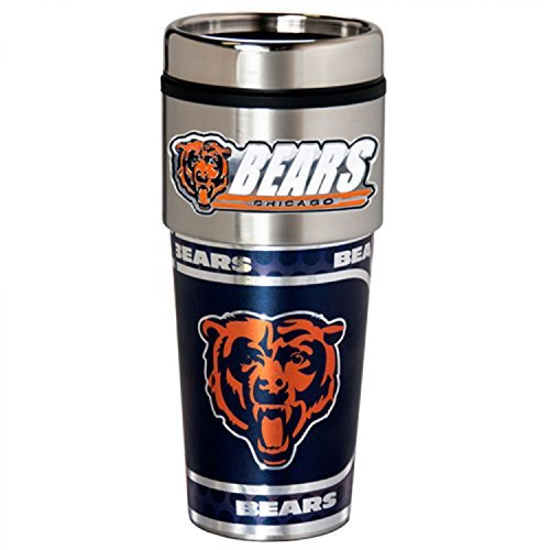 Chicago Bears Jewelry - Great American Products NFL Chicago Bears Metallic Travel Tumbler, Stainless Steel and Black Vinyl, 16-Ounce