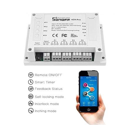 FOONEE WiFi Smart Switch 4 Gang, Interlock Switch para generador, autocierre/Control automático