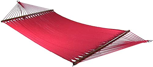 Sunnydaze Polyester Rope Hammock, Large Double Wide Two Person with Spreader Bars – for Outdoor Patio, Yard, and Porch – Red