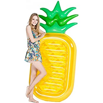 """Jasonwell Giant 76"""" Pineapple Pool Party Float Raft Summer Outdoor Swimming Pool Inflatable Floatie Lounge Pool Loungers Decorations Toys for Adults & Kids"""
