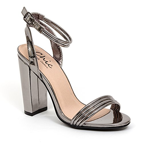 Flirt High Heel Heels - Lady Couture High Block Heel Ankle Strap Sandal Womens Shoes, Flirt Pewter 36