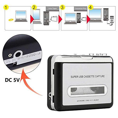 KOBWA - Cinta de Casete para convertidor de MP3, Reproductor de Cassette USB, Cinta portátil para PC y Ordenadores...