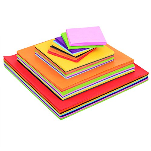 Blulu 4 Sizes Squares Tissue Paper Bulk Multicolor Craft Papers, 5 by 5 cm, 8 by 8 cm, 12 by 12 cm, 15 by 15 cm, 1600 Pieces ()