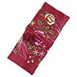 travel jewelry case red - Jewelry Roll,Travel Jewelry Roll Bag,Wine Red Silk Embroidery Brocade Jewelry Organizer Case with Tie Close