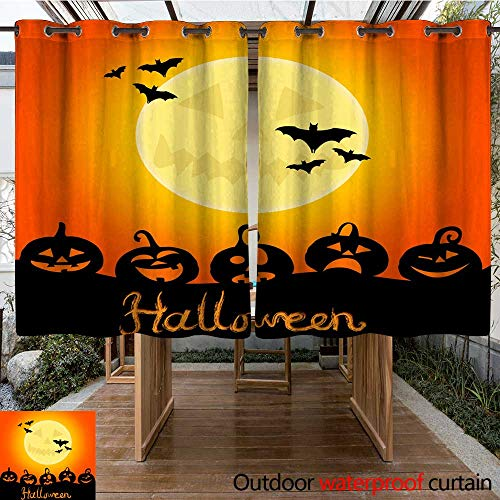 RenteriaDecor Outdoor Ultraviolet Protective Curtains Halloween Night Background with Pumpkins and The Full Moon W108 x L72 -